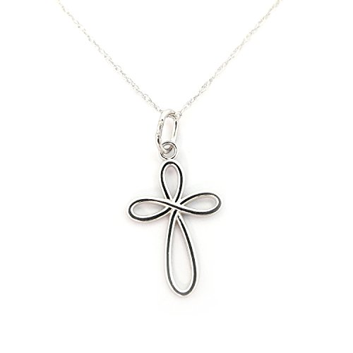 Gold Confirmation Cross - Beauniq 14k White Gold Infinity Open Cross Pendant Necklace - Pendant only