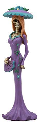 "Ebros Steampunk Aristocrat Lady in Purple Skeleton Statue 8.5"" H Day of The Dead Baroness High Fashion Decor Figurine"