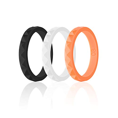 SANXIULY Womens Silicone Ring&Rubber Wedding Bands for Workout and Sports Width 3mm Pack of 3 Size 7