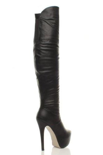 Ajvani Womens ladies hidden concealed platform high heel calf over the knee zip boots size Black Matte 8Blki8