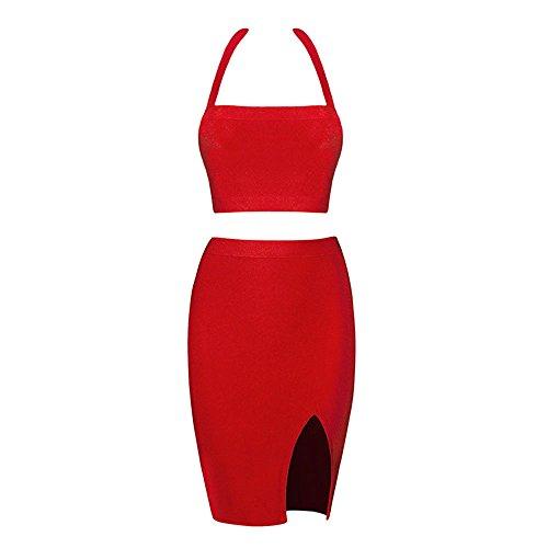 Halter 2 Verband Kleid Stück Schlitz Seiten Rot Kunstseide Ansatz HLBandage v4wxagOqq