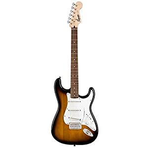 Squier by Fender Stratocaster Beginner Pack, Laurel Fingerboard, Brown Sunburst, with Gig Bag, Amp, Strap, Cable, Picks, and Fender Play