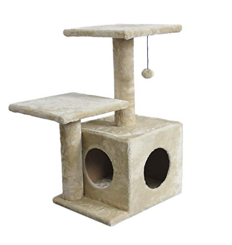 AmazonBasics Dual Post Indoor Cat Tree Tower With Cave - 23 x 18 x 29 Inches, Beige ()