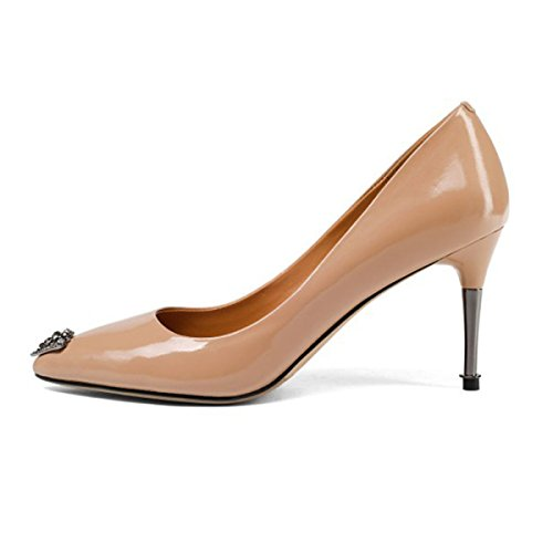 Spring New Women Ladies Patent Leather Pointed High Heels Female Rhinestones Shoes Pumps High Heel Party Office Work Court Shoes Nude