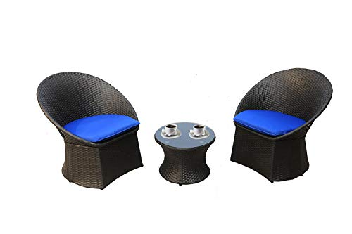 Outime Outdoor Rattan Black Wicker Bistro Set Garden Patio Furniture Conversation Chair & Table Cushioned Sets(Royal Blue Cushion,3 Piece) (Black Furniture Rattan)