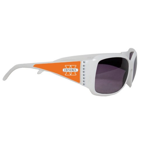 Hendrix Ladies White Rhinestone Sunglasses 'Official Logo' by CollegeFanGear