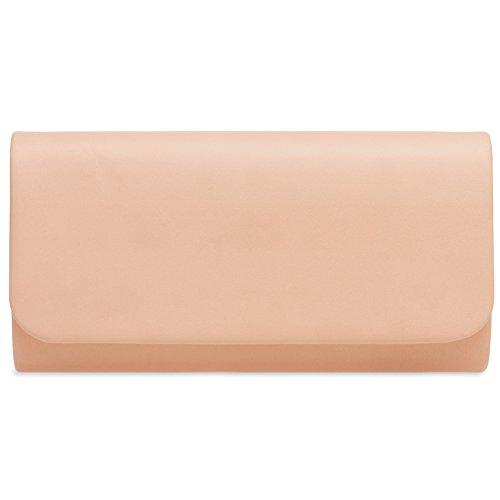 CASPAR TA404 Ladies Baguette Style Clutch Elegant Evening Bag Pink