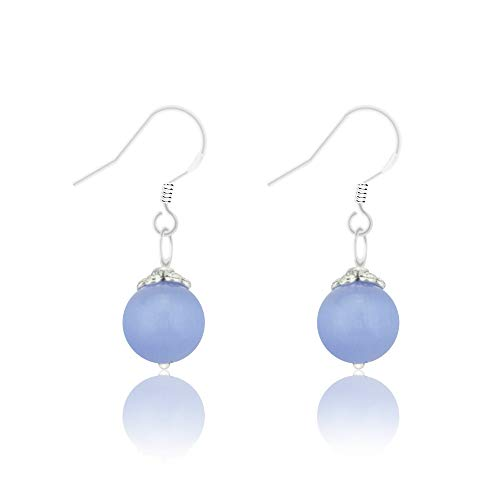 Natural Gem 925 Sterling Silver Earrings Chalcedony Clear Crystal Agate Bead Drop Stone Earrings with Hypoallergenic Hook ()