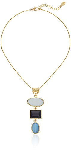 - ELYA Jewelry Womens Gold IP Onyx, Moonstone, and Mother of Pearl Tiered Necklace, Gold/Black/White