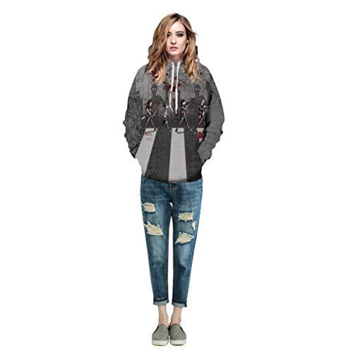 CocoMarket Tops-Halloween Women Men Skeleton 3D Print Long Sleeve Hoodie Sweatshirt Pullover Top(Gray,XL)