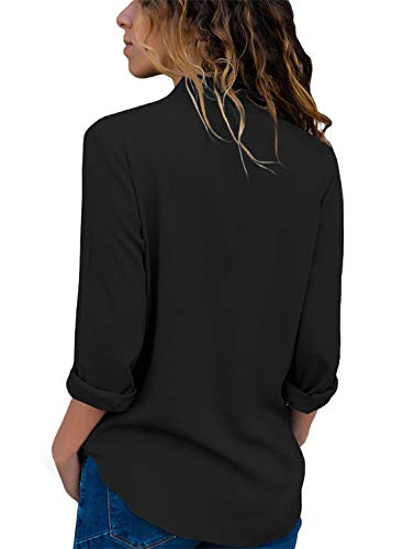 9b9c43fc09a2c Asyoly Women Casual Wrap Front V Neck Long Sleeve Loose Fit Basic Blouse T Shirt  Tops