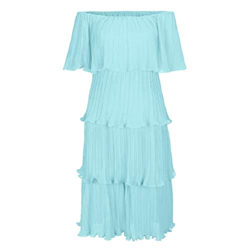 Women Off Shoulder Ruffle Layered Dress Slash Neck Dress High Waist Party Maxi Dress Club Party Gown by Lowprofile Light Blue -