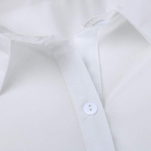 Blanc Col Chemise Rond Longues Fleurs Manches Femme Xmiral Chemisier Body RqvIzI