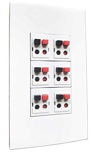 diyTech Premium Speaker Wall Plate, 6 Speaker, Supports 6 Speaker Configurations, 1 Gang Screwless - White (Speaker Banana Plug Wall Plate)