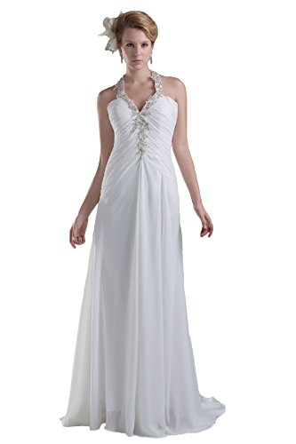 Snowskite Women's Sexy Halter Long Chiffon Beaded Beach Wedding Bridal Dress Ivory 14
