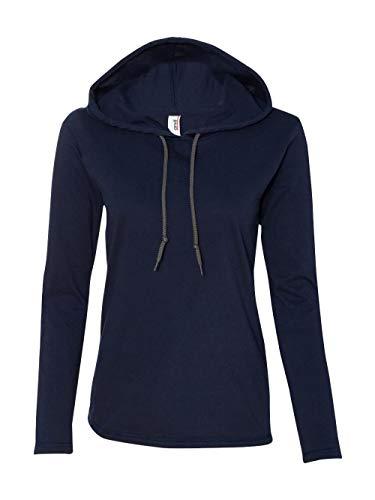 Anvil Ladies Lightweight Long-Sleeve Hooded T-Shirt, Small, Navy/Dark Grey