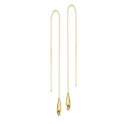 Threader Earrings, 14Kt Gold Wire Threader Earrings ()