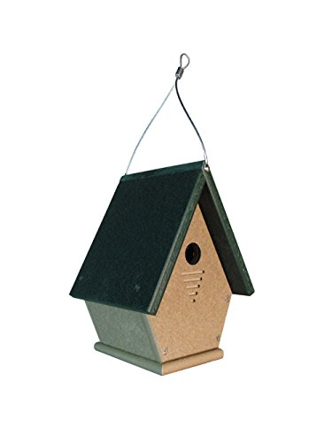 JCs Wildlife Lt Brown Wren, Chickadee, and Warbler Chateau Poly Birdhouse (Lt Brown/Green)
