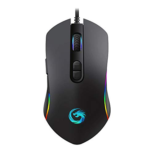 Gaming Mouse Wired,Ergonomic Game USB Wired Computer Mice,4 Mode Breathing LED Light,6 Adjustable DPI Levels With 7 Buttons Programmable for Windows 7/8/10/XP Android,MacOS,Linux.