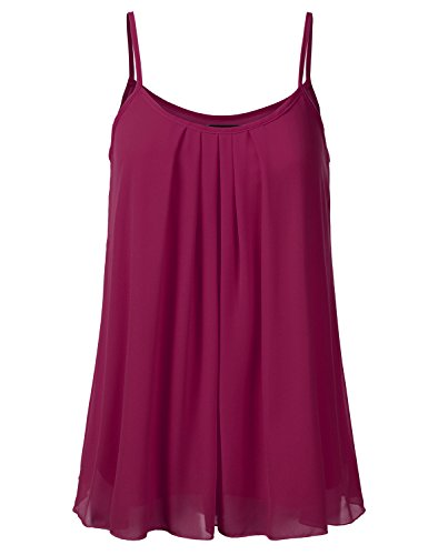 SSOULM Women's Pleated Chiffon Layered Cami Cool Short Tank Tunic Top Burgundy 1XL Beaded Chiffon Tank