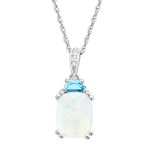 """2 1/6 Natural Opal & Blue Topaz Pendant with Diamonds in Sterling Silver, 18"""""""