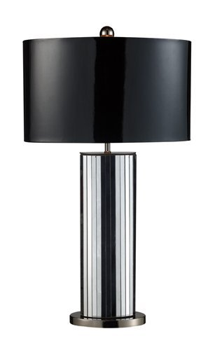 Dimond D1893 18-Inch Width by 32-Inch Height Shreve Table Lamp in Mirror and Black Nickel with Oval Black Patent Faux Leather Shade and Silver Fabric Liner by Dimond Lighting