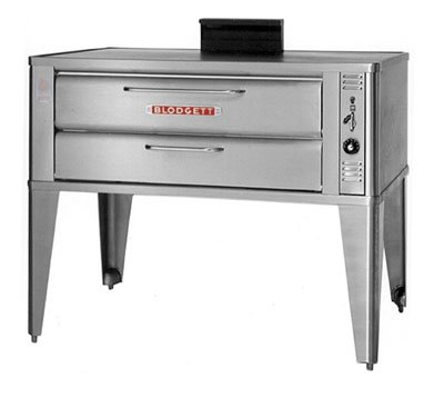 Small Gas Pizza Deck Oven - Three 911P Base Sections With 7 Inch Black Legs, Stainless Steel Draft Diverter Or Draft Hood, Triple Gas Connector And Small Crown Angle Trim -- 1 (Blodgett Pizza Ovens)
