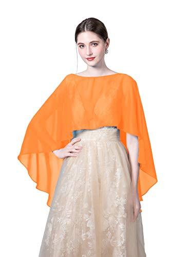 Wedding Capes Womens Soft Chiffon Shrug Bridal Long Shawl and Wraps (Orange)