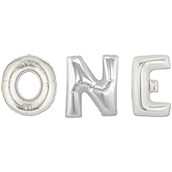 "C-Spin 16 INCH 1 ONE Silver Foil Number Letter Balloon 16"" 1st Birthday Anniversary Decorations Mylar Foil"