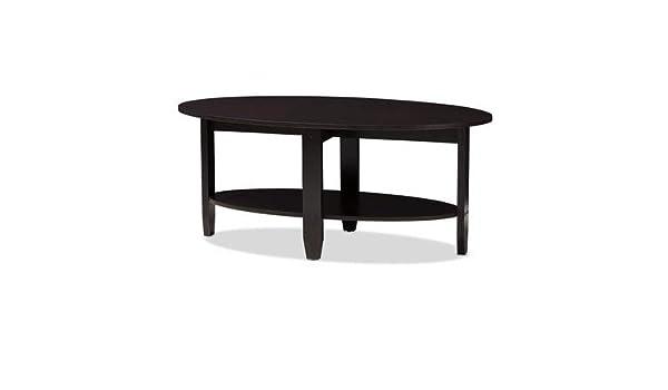 Amazoncom Wood Coffee Table With 1 Shelf Oval Coffee