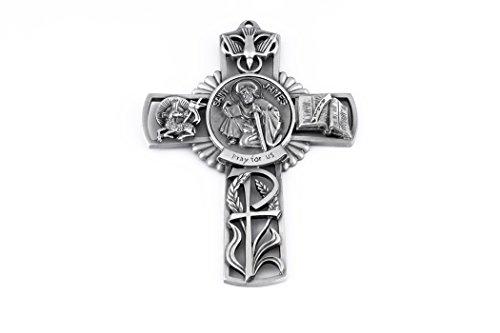 Pewter Catholic Saint St James Pray for Us Wall Cross, 5 Inch