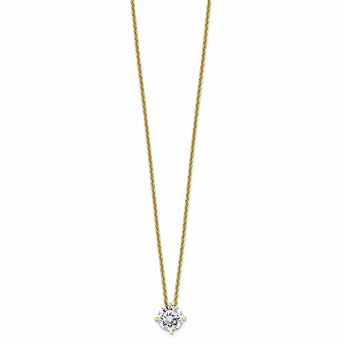 14k Yellow Gold 3/4ct. 6mm Round Moissanite Solitaire Pendant On Link Cable Chain Necklace 18 Inch Charm Slide Light Fine Jewelry Gifts For Women For Her