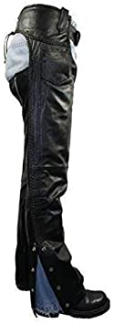 Xelement B7556 Womens Black Braided Zippered Leather Chaps 8
