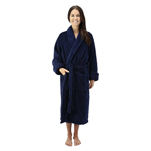 Comfy Robes Women's Deluxe 20 oz. Turkish Terry Bathrobe, L/XL (OSFM) Tall Navy