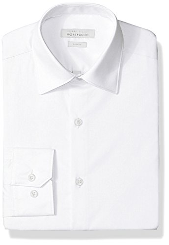 Perry Ellis Men's Slim Fit Wrinkle Free Dress Shirt, White, 15 32/33 (Men Fitted Dress Shirt White)