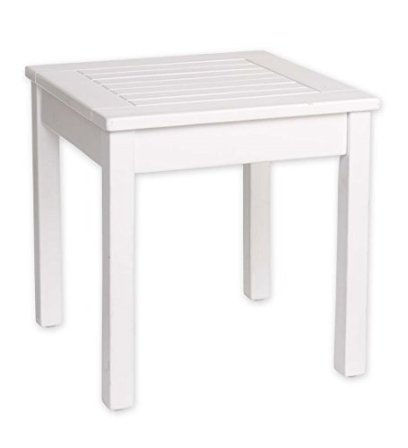 Slatted Wood Side Table, in White Paint (Rocking Side Table)