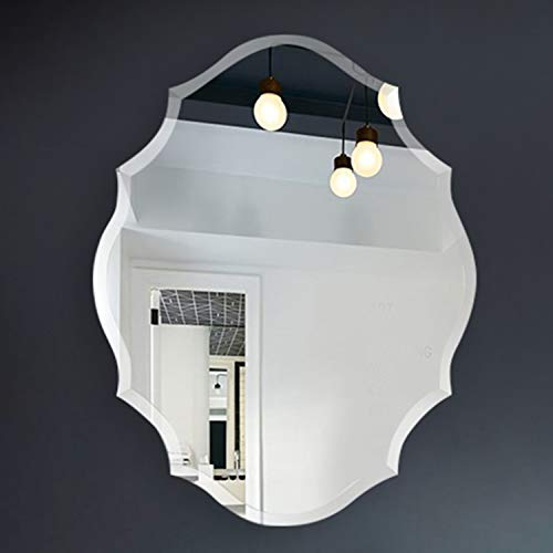 COMMODA Frameless Wall Mirror Glass Wood Backing Vanity Bedroom Bathroom Hangs Horizontal -