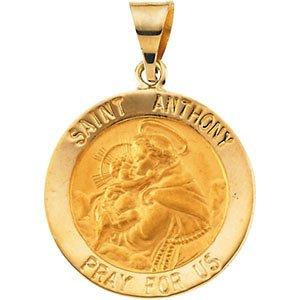 14K jaune 18,25mm creuse ronde Médaille Saint Anthony