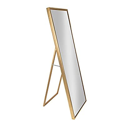 Kate and Laurel Evans Wood Framed Free Standing Mirror with Easel, Gold - Decorative free standing full length mirror with attached easel and modern framed floating glass No assembly is required! Ready for display against a wall or free standing with attached easel Display dimensions are 58 inches high, 18 inches wide, and 15 inch depth when easel is extended - mirrors-bedroom-decor, bedroom-decor, bedroom - 31C2zPYNQsL. SS400  -