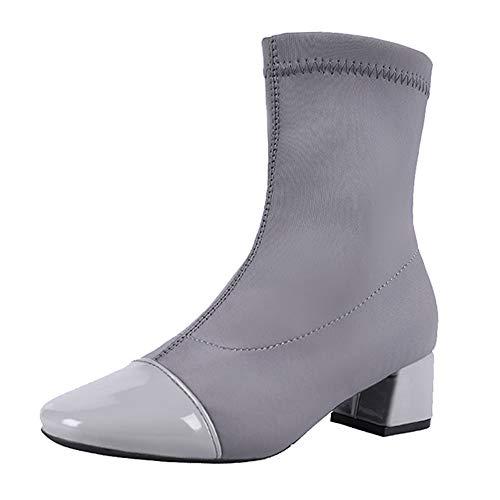 Casual Grau Damenstiefel Schwarz Einfarbig Mittelrohrstiefel Stiefel Outdoor Stiefel Schuhe Rund Toe Stretch Stoffstiefel Grau Sonnena Party Keile Rutschfeste Schuhe Damen Boots Fqxw75qUTH