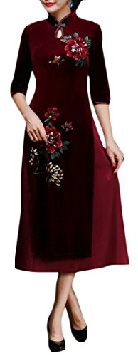 Cruiize Femmes Amincissent Deux Couches D'impression Longue Robe De Velours Rouge Cheongsam Qipao Vin