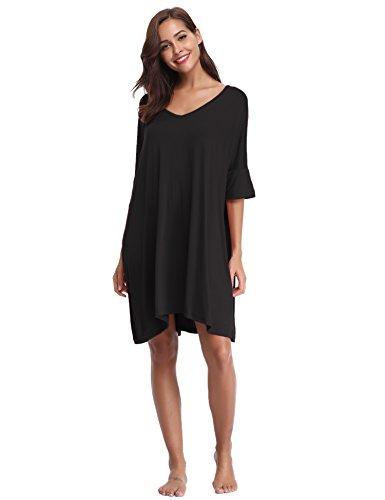 Aibrou Women's V-Neck Short Sleeve T-Shirt Dress Loose Nightshirt Sleepwear ()