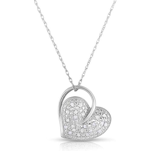 - NATALIA DRAKE Sterling Silver 1/4 White Diamond Dangling Heart Pendant