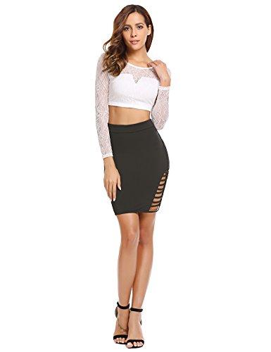 Zeagoo Women's High Waist Stretch Slim Fit Pencil Bodycon Short Mini Skirt Type3-black X-Large by Zeagoo (Image #8)