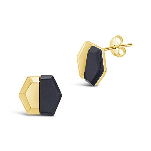 - Sterling Forever - 14K Gold Vermeil Hex Stone Earrings (Black, yellow-gold-and-sterling-silver)