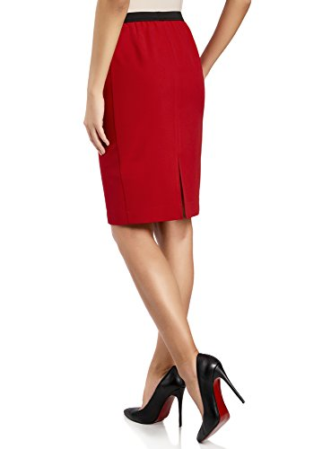 4500n Jupe Droite Femme lastique Rouge Coupe Taille Ultra oodji qaAw8xnT