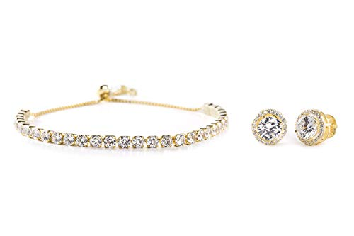Inspired by You Round Prong Set Cubic Zirconia Adjustable Bridal Tennis Bracelet and Stud Bridal Earring Set for Women in Yellow Gold Plated 925 Sterling Silver ()