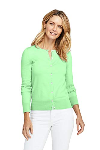 Lands' End Women's Supima Cotton Cardigan Sweater, XS, Green Ash