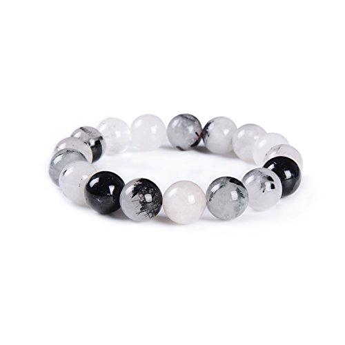 - Xinrui Simple Design Gemstone Beaded Stretch Bracelet 12mm Round Beads 7.5