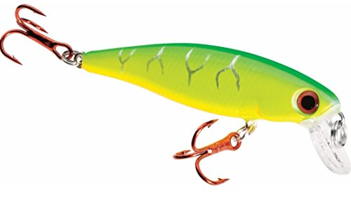 Dynamic Lures Trout Fishing Lure | Multiple BB Chamber Inside | (2) - Size 10 Treble Hooks | For Bass, Trout, Walleye, Carp | Count 1 | (Fire Tiger, HD Trout 2.25 Inch) (Trolling Lure Fishing Bait)